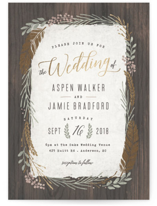 Woodland Wreath Foil-Pressed Wedding Invitations