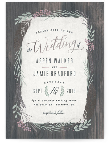This is a portrait botanical, rustic, grey Wedding Invitations by Hooray Creative called Woodland Wreath with Foil Pressed printing on Signature in Classic Flat Card format. Elegant type paired with a rustic wreath and gold accents that's perfect for a ...