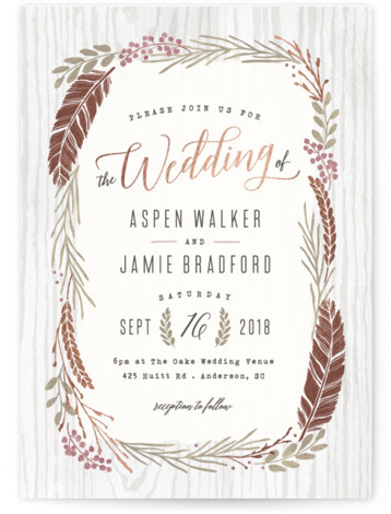 This is a portrait botanical, rustic, rosegold Wedding Invitations by Hooray Creative called Woodland Wreath with Foil Pressed printing on Signature in Classic Flat Card format. Elegant type paired with a rustic wreath and gold accents that's perfect for a ...