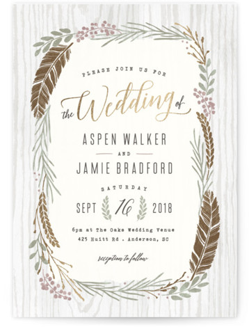 This is a portrait botanical, rustic, gold Wedding Invitations by Hooray Creative called Woodland Wreath with Foil Pressed printing on Signature in Classic Flat Card format. Elegant type paired with a rustic wreath and gold accents that's perfect for a ...