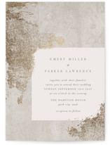 This is a brown foil stamped wedding invitation by Robert and Stella called Marquis with foil-pressed printing on signature in standard.
