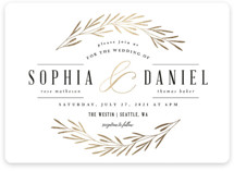 This is a gold foil stamped wedding invitation by Kelly Schmidt called Gilded Leaves with foil-pressed printing on signature in standard.