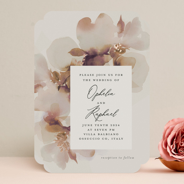 """""""Ethereal"""" - Foil-pressed Wedding Invitations in Ivory by Lori Wemple."""