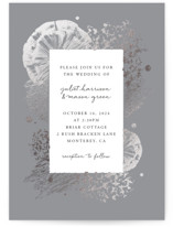 This is a grey foil stamped wedding invitation by Justine Elliott called Treasure Trove with foil-pressed printing on signature in standard.