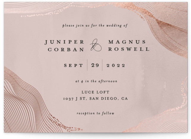 This is a landscape modern, pink Wedding Invitations by Bonjour Berry called Ethereal Romance with Foil Pressed printing on Signature in Classic Flat Card format. This modern design features a delicate flowing border on a softly painted background.