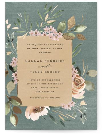 Falling In Love Foil-Pressed Wedding Invitations