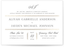 This is a black and white foil stamped wedding invitation by Design Lotus called Joyous Occasion with foil-pressed printing on signature in standard.