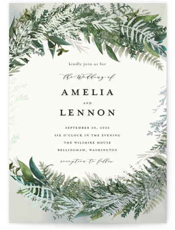 This is a portrait botanical, painterly, rustic, green Wedding Invitations by Susan Moyal called Fresh Vines with Foil Pressed printing on Signature in Classic Flat Card format. Hand drawn greenery surround the wedding details