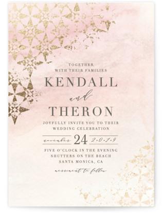distressed tile Foil-Pressed Wedding Invitations