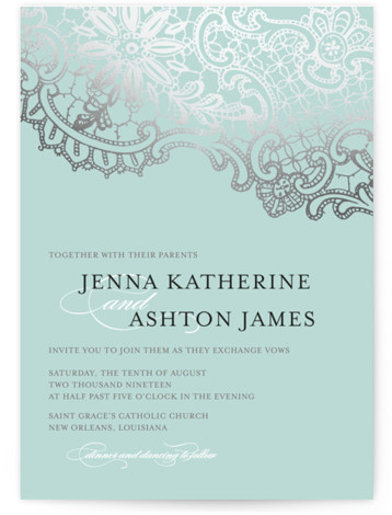 This is a landscape, portrait classical, elegant, formal, metallic, vintage, blue, silver Wedding Invitations by Lauren Chism called White Lace with Foil Pressed printing on Signature in Classic Flat Card format.