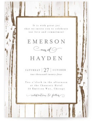 Gilded Woodgrain Foil Pressed Wedding Invitations