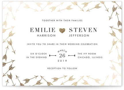 photo of Arrow Frame Foil Pressed Wedding Invitations