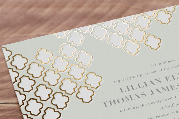foiled arabesque foil pressed wedding invitations by bourne paper co