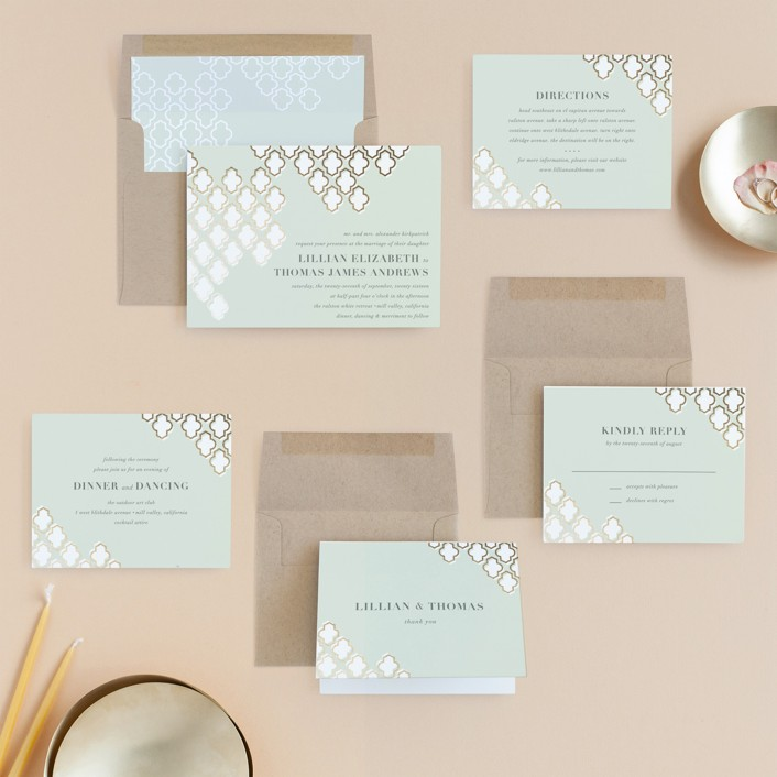 Foiled Arabesque Foil-Pressed Wedding Invitations by Bourne Paper Co ...