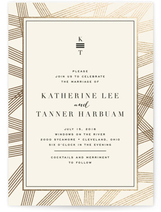 Gold Notes Foil Pressed Wedding Invitations By Carrie ONeal