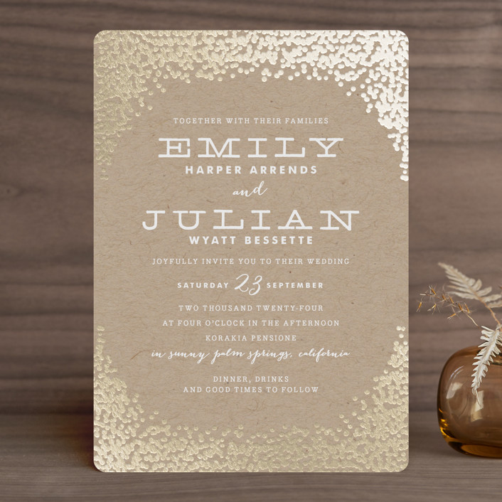 """""""Gold Rush"""" - Whimsical & Funny, Preppy Foil-pressed Wedding Invitations in Kraft by Annie Clark."""