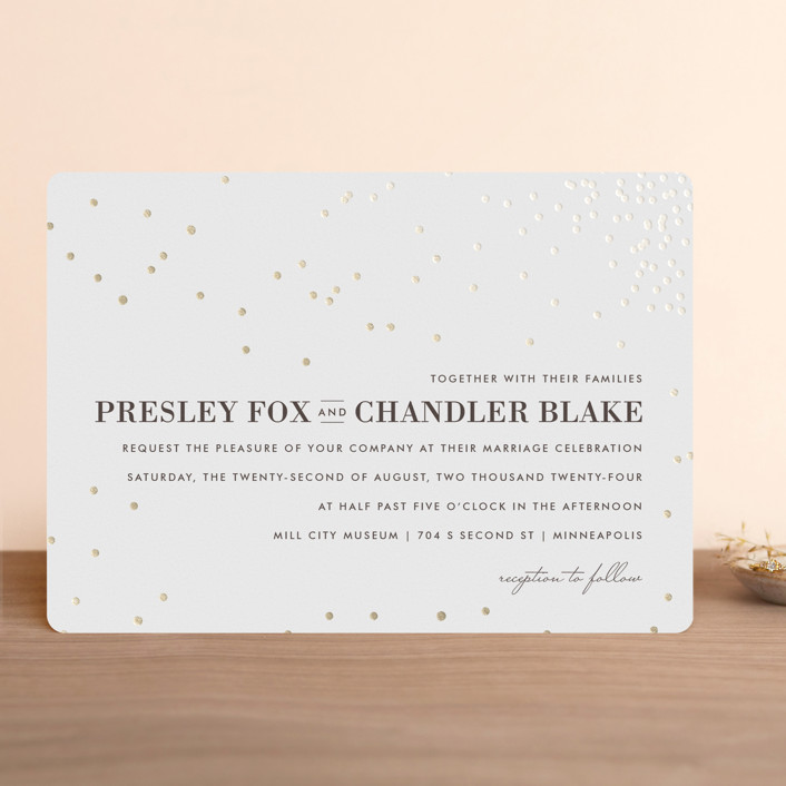 """Thrilling"" - Preppy Foil-pressed Wedding Invitations in Snow by Design Lotus."
