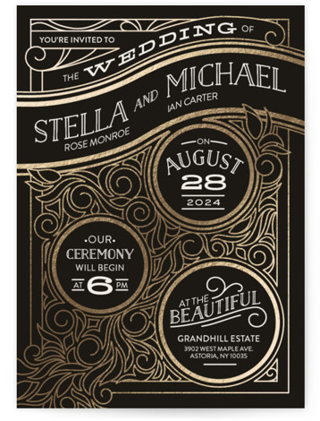 This is a black foil stamped wedding invitation by GeekInk Design called Antique Lines with foil-pressed printing on signature in standard.