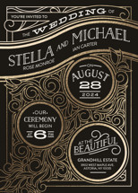 Antique Lines Foil-Pressed Wedding Invitations By GeekInk Design