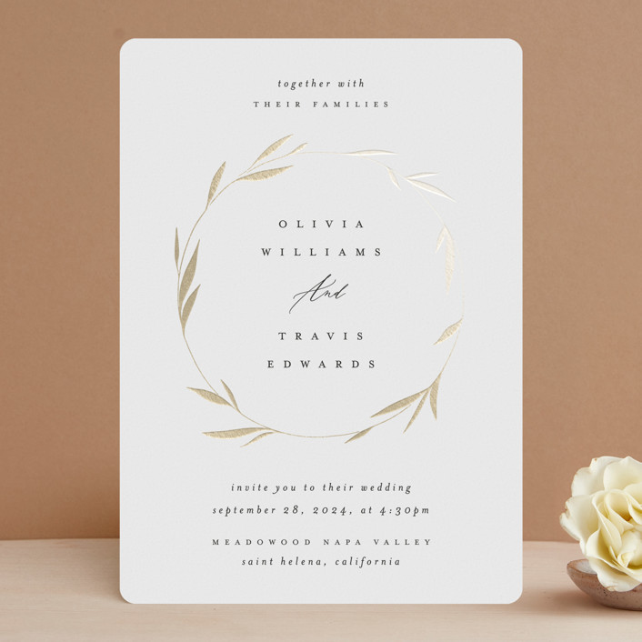 """""""Minimal Circle"""" - Foil-pressed Wedding Invitations in Moss by Kelly Schmidt."""