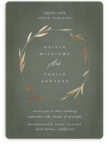 This is a green foil stamped wedding invitation by Kelly Schmidt called Minimal Circle with foil-pressed printing on signature in standard.
