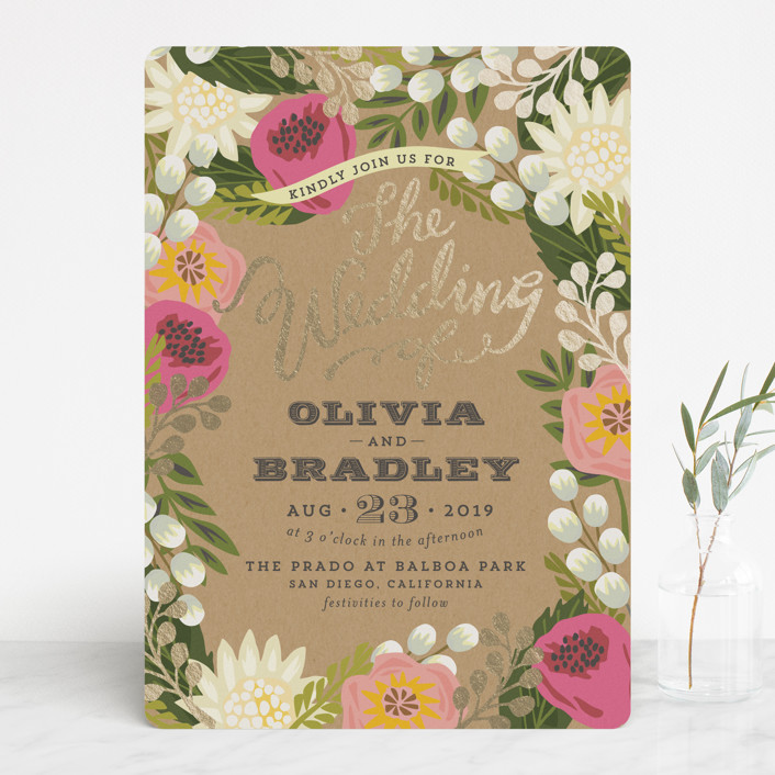 """""""Floral Canopy"""" - Floral & Botanical, Rustic Foil-pressed Wedding Invitations in Peony by Griffinbell Paper Co.."""