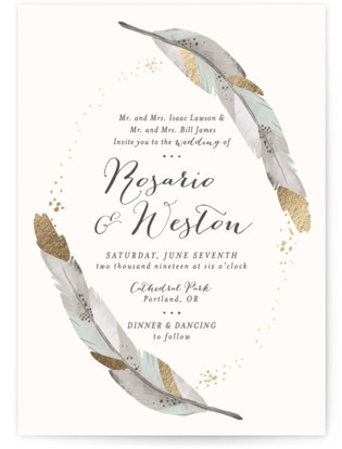 Boho wedding invitations - dipped feathers wedding invitations - bohemian wedding invitations - bohemian weddings - rustic wedding invitations - rustic weddings - foil-pressed wedding invitations - mint color - other colors available