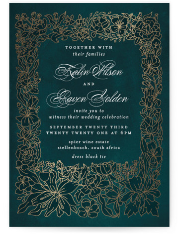 This is a portrait botanical, green, gold Wedding Invitations by Phrosne Ras called Botanical Framed with Foil Pressed printing on Signature in Classic Flat Card format. An illustrated botanical frame in foil on warm grey texture for a fancy affair. ...