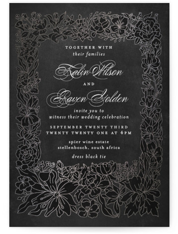 This is a portrait botanical, black, silver Wedding Invitations by Phrosne Ras called Botanical Framed with Foil Pressed printing on Signature in Classic Flat Card format. An illustrated botanical frame in foil on warm grey texture for a fancy affair. ...