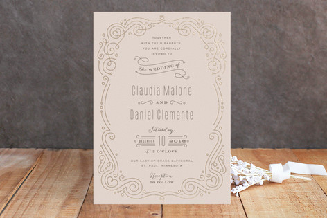 Art Deco Filigree FoilPressed Wedding Invitations Minted