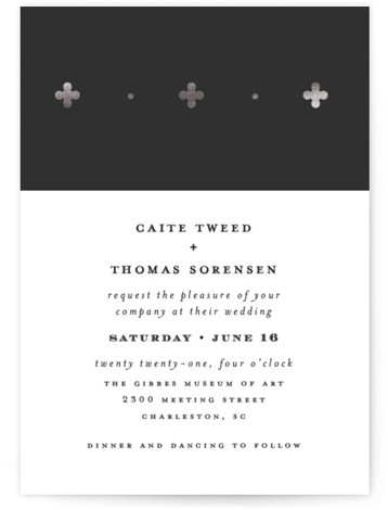 This is a portrait geometric, modern, black, silver Wedding Invitations by Susan Brown called Venice with Foil Pressed printing on Signature in Classic Flat Card format. Distinct foil pattern on color block.