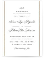 This is a black and white foil stamped wedding invitation by Carolyn MacLaren called Scripted Striped with foil-pressed printing on signature in standard.