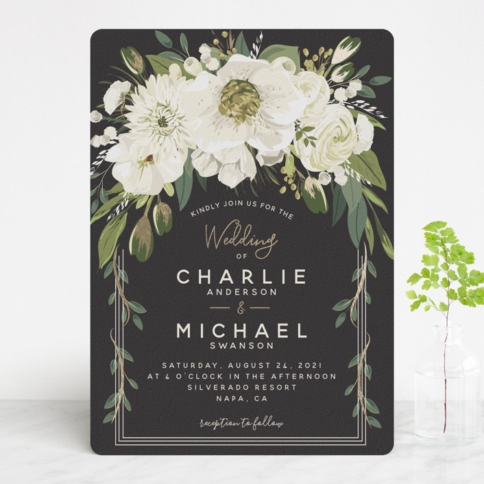 """Garden Blooms"" - Foil-pressed Wedding Invitations in Ivory by Susan Moyal."