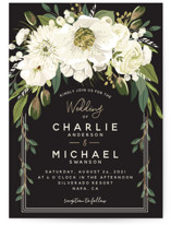 This is a black and white foil stamped wedding invitation by Susan Moyal called Garden Blooms with foil-pressed printing on signature in standard.