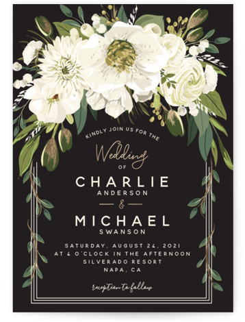 This is a portrait botanical, painterly, black and white, gold Wedding Invitations by Susan Moyal called Garden Blooms with Foil Pressed printing on Signature in Classic Flat Card format. This wedding design features a hand drawn floral frame