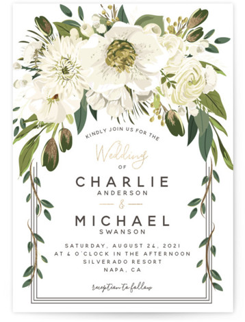 This is a portrait botanical, painterly, gold, green, white Wedding Invitations by Susan Moyal called Garden Blooms with Foil Pressed printing on Signature in Classic Flat Card format. This wedding design features a hand drawn floral frame