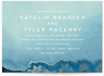 This is a blue foil stamped wedding invitation by Kaydi Bishop called Sea Crest with foil-pressed printing on signature in standard.