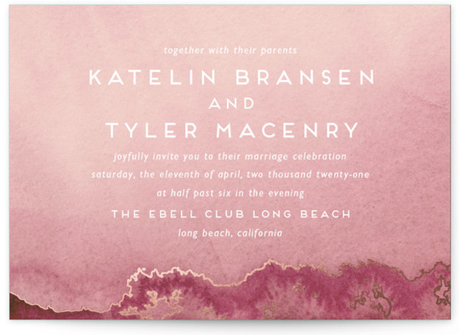 This is a landscape modern, painterly, pink, rosegold Wedding Invitations by Kaydi Bishop called Sea Crest with Foil Pressed printing on Signature in Classic Flat Card format. Hand painted watercolor oceans waves with crests of gold.