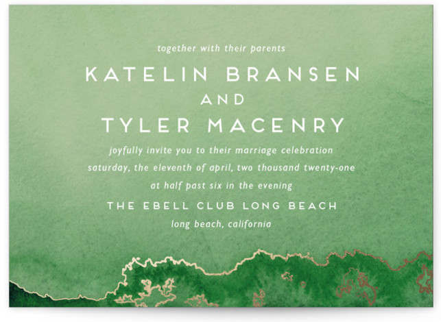 This is a landscape modern, painterly, gold, green Wedding Invitations by Kaydi Bishop called Sea Crest with Foil Pressed printing on Signature in Classic Flat Card format. Hand painted watercolor oceans waves with crests of gold.