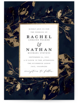 This is a blue foil stamped wedding invitation by Grace Kreinbrink called Midnight Vines with foil-pressed printing on signature in standard.