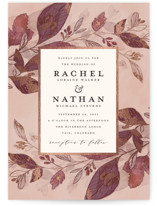 This is a pink foil stamped wedding invitation by Grace Kreinbrink called Midnight Vines with foil-pressed printing on signature in standard.