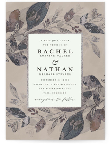 This is a portrait botanical, grey, silver Wedding Invitations by Grace Kreinbrink called Midnight Vines with Foil Pressed printing on Signature in Classic Flat Card format. Hand drawn, botanical wedding invitation with watercolor vines and backdrop.