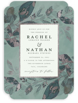This is a green foil stamped wedding invitation by Grace Kreinbrink called Midnight Vines with foil-pressed printing on signature in standard.