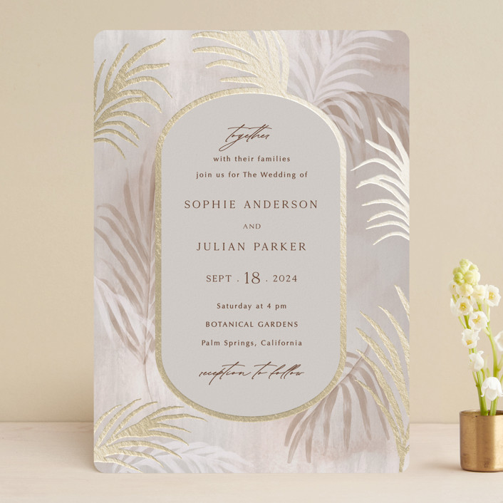 """""""Palm Springs"""" - Bohemian Foil-pressed Wedding Invitations in Sand by Elly."""