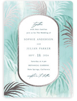This is a blue foil stamped wedding invitation by Elly called Palm Springs with foil-pressed printing on signature in standard.