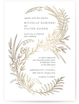 This is a white foil stamped wedding invitation by Shiny Penny Studio called Delicate Woodland with foil-pressed printing on signature in standard.