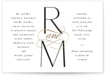This is a white foil stamped wedding invitation by Robert and Stella called Norfolk with foil-pressed printing on signature in standard.