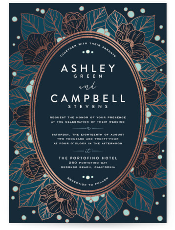 This is a portrait floral, vintage, blue Wedding Invitations by GeekInk Design called Resplendent with Foil Pressed printing on Signature in Classic Flat Card format. Beautiful vintage style flowers and leaves frame your information in this wedding invite.