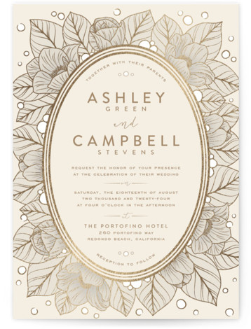 This is a portrait floral, vintage, beige Wedding Invitations by GeekInk Design called Resplendent with Foil Pressed printing on Signature in Classic Flat Card format. Beautiful vintage style flowers and leaves frame your information in this wedding invite.
