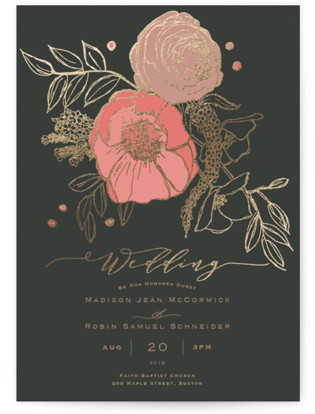 Floral Sprigs Foil-Pressed Wedding Invitations